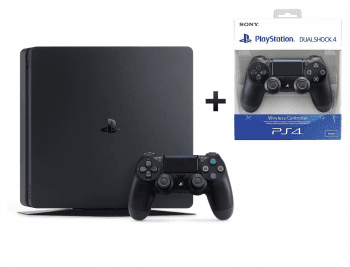 Sony Playstation 4 Slim 500GB + 2 Dualshock Controller Jet Black