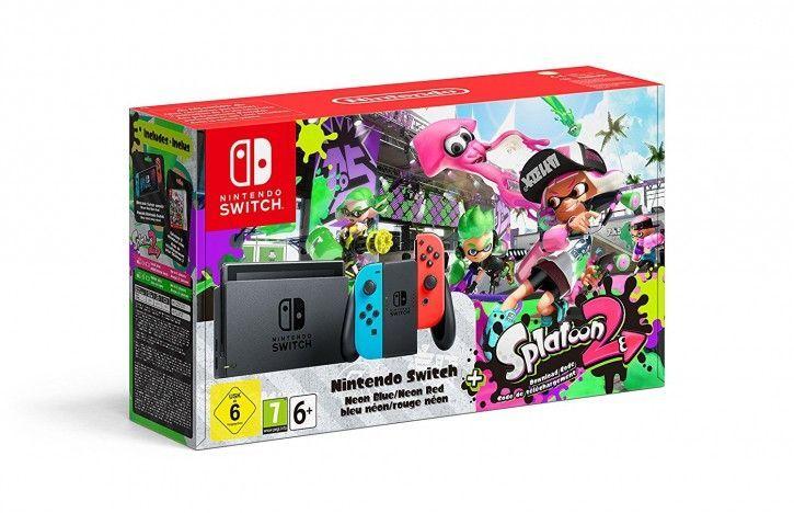Nintendo Switch Spielekonsole Neon-Rot/Neon-Blau + Splatoon 2