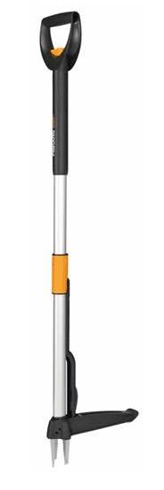 Fiskars Teleskop-Unkrautstecher, Länge 1-1,19m, Rostfreie Stahl-Arme/Kunststoffgriff, Schwarz/Orange, Smart-Fit 1020125
