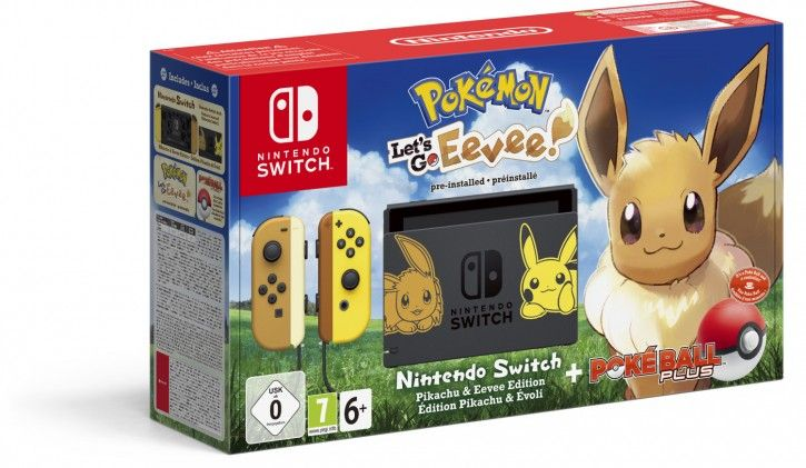 Nintendo Switch Konsole Lets Go, Evoli (Bundle) Grau