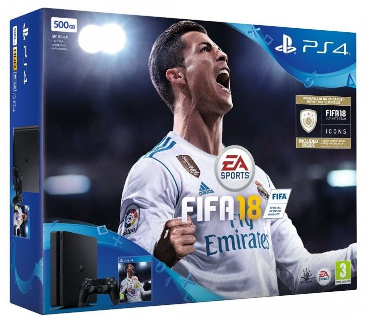 Sony PS4 1TB Slim + FIFA 18 + 2 Dualshock Controller + 14 TAGE PSN