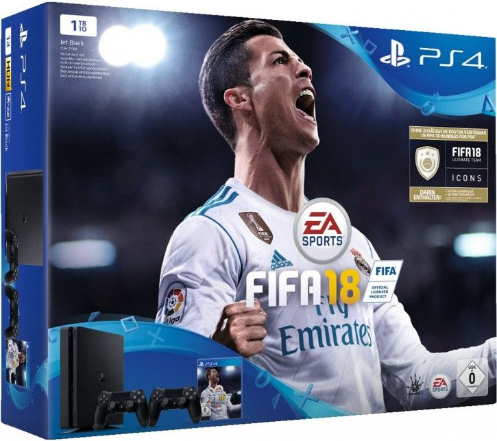 Sony PS4 1TB Slim + FIFA 18 + 2 Dualshock Controller + 14 TAGE PSN