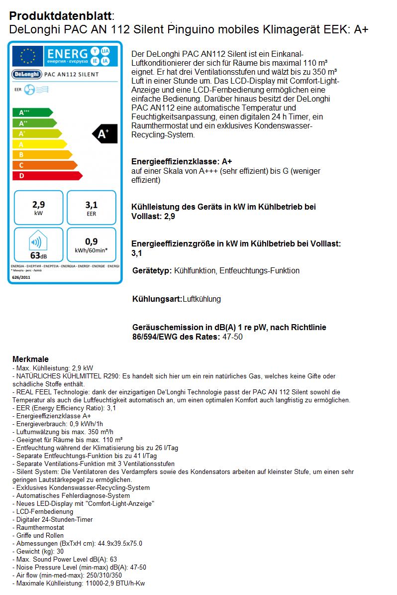 Delonghi Pac An112 Silent Klimagerät Eeka 19785
