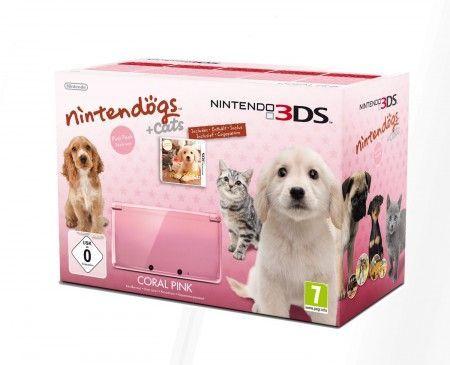 3DS Konsole + Nintendogs und Cats, rosa
