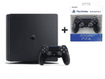 Sony Playstation 4 Slim 500GB + 2 Dualshock Controller Jet Black