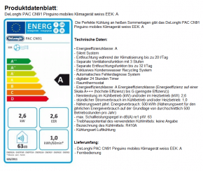 DeLonghi PAC CN91 Pinguino Klimagerät EEK: A